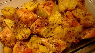 Куриные бедрышки в духовке,с Картофелем и Пряными травами