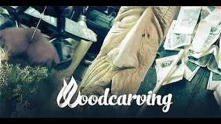 Wood carved Old man's head ►► Timelapse Лик Старца Урок Резьба Бензопилой