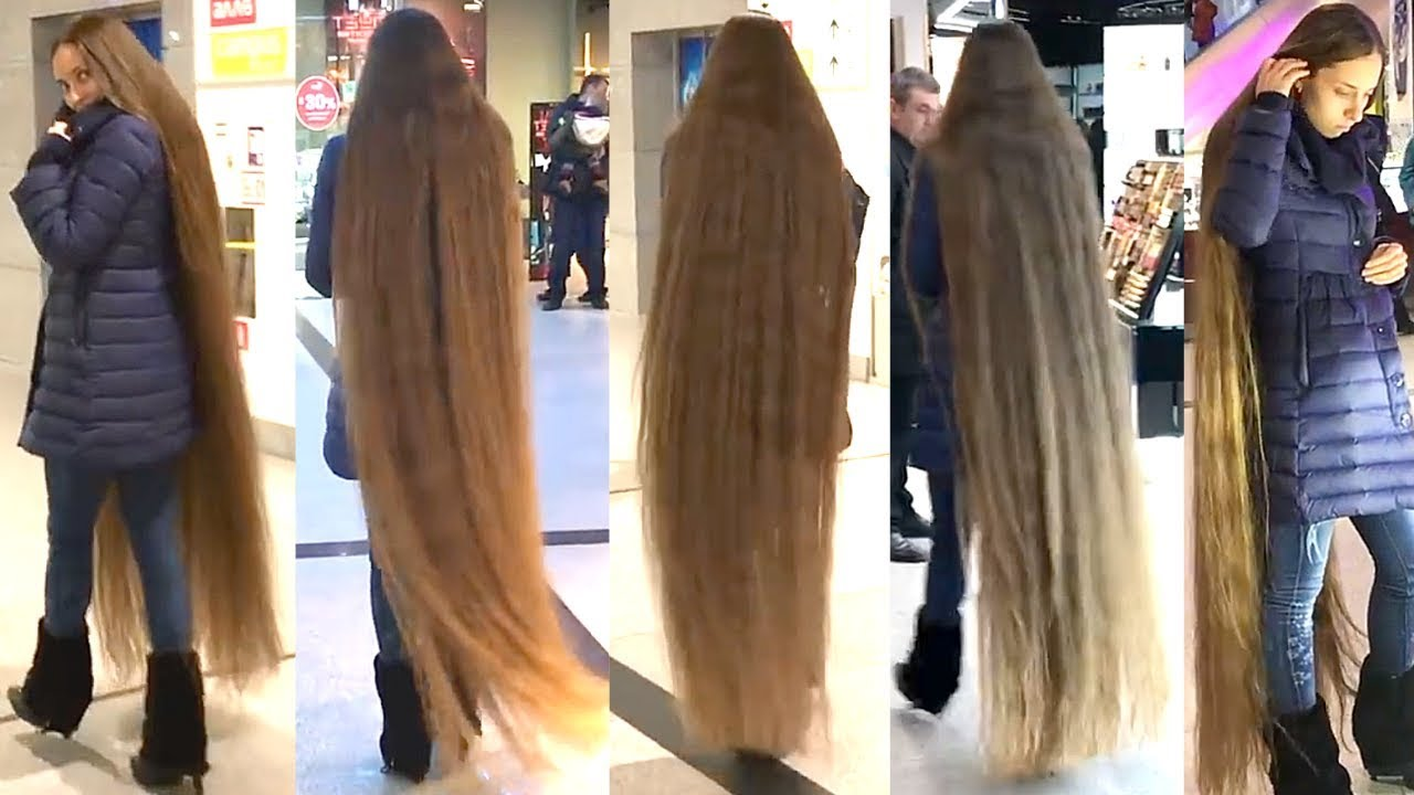 Rapunzel Exists Floor Length Hair In Shopping Mall Youtube