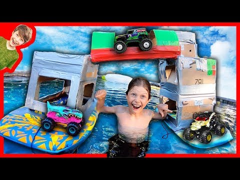 Double Monster Truck Box Fort Boat With Bridge!