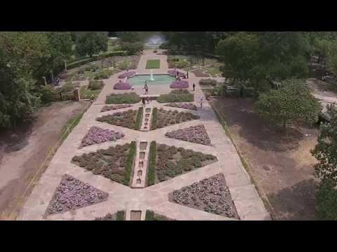 Aerial Tour of Rose Garden at Fort Worth Botanical Garden