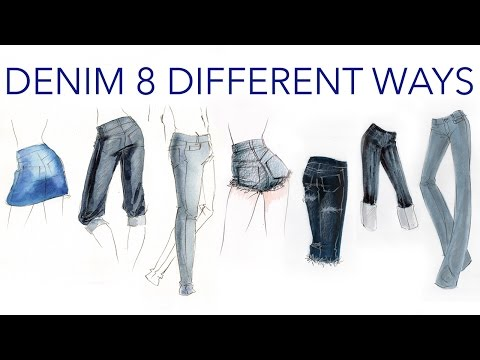 Fashion Illustration Tutorial: Denim Done 8 Different Ways