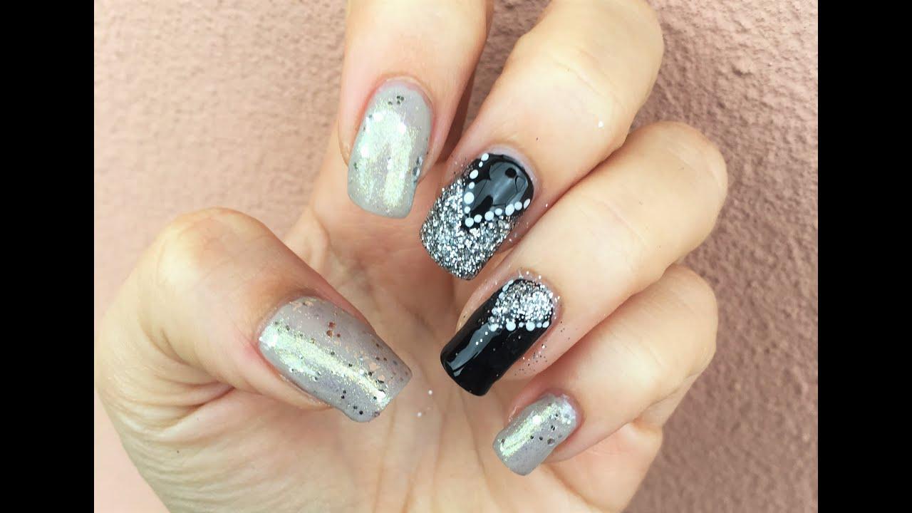 Nail art nera e argento facilissima