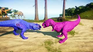 Pink Tyrannosaurus Rex vs Green Spinosaurus Jurassic World Evolution Dinosaurs Fighting
