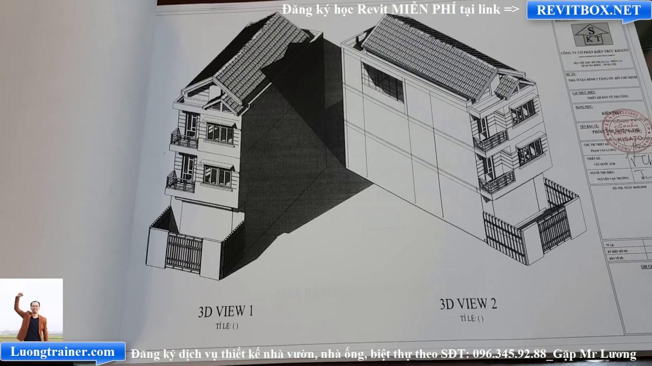 Bản Vẽ Mẫu Nhà Ống 3 Tầng Đẹp Tại Hồ Chí Minh Làm Bằng Revit 2017-2018-2019