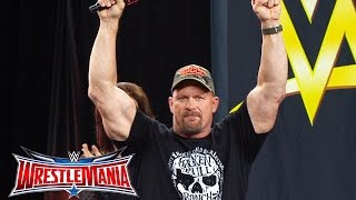 """Stone Cold"" Steve Austin enters AT&T Stadium: WrestleMania On-Sale Party, November 5, 2015"