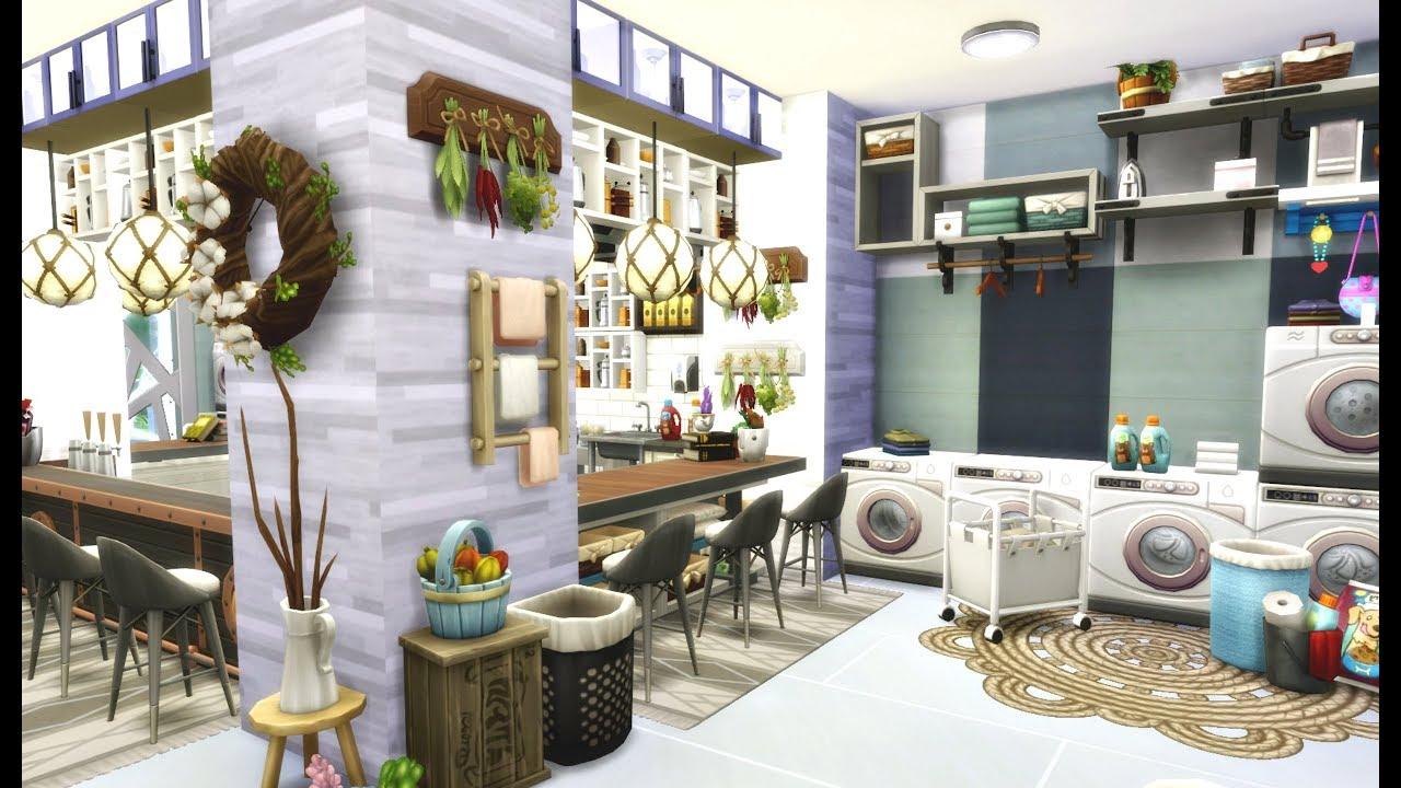 laundromat furniture. LAUNDROMAT \u0026 CAFE | Sims 4 Speed Build Laundromat Furniture W