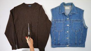 니트와 청조끼를 리폼해서 쟈켓을 만든다고?   Maki…