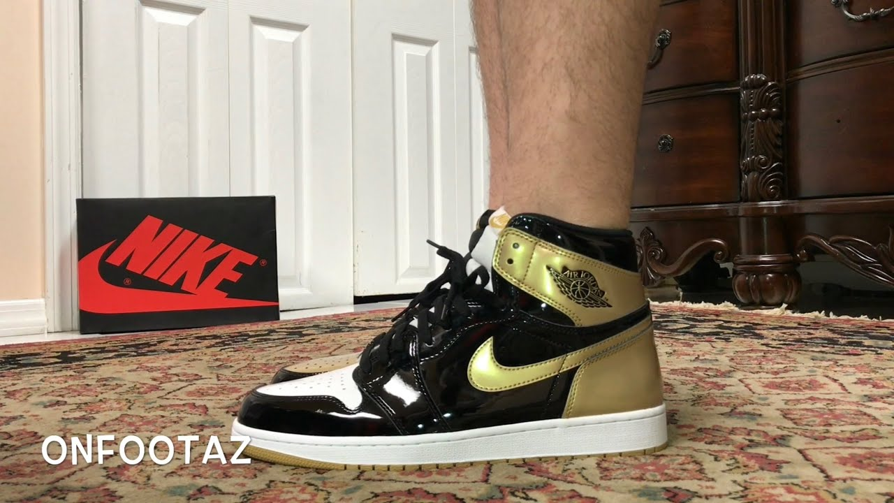 new product 70347 f03a3 Air Jordan 1 Retro High OG Gold Top 3 On Foot