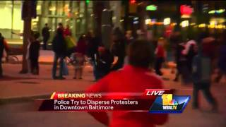 Truck plows through protest area