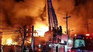 P-5 ** Fire Apocalypse** HISTORIC MARCAL PAPER FACTORY INFERNO W/ COLLAPSE ELMWOOD PARK NJ 1-30-19