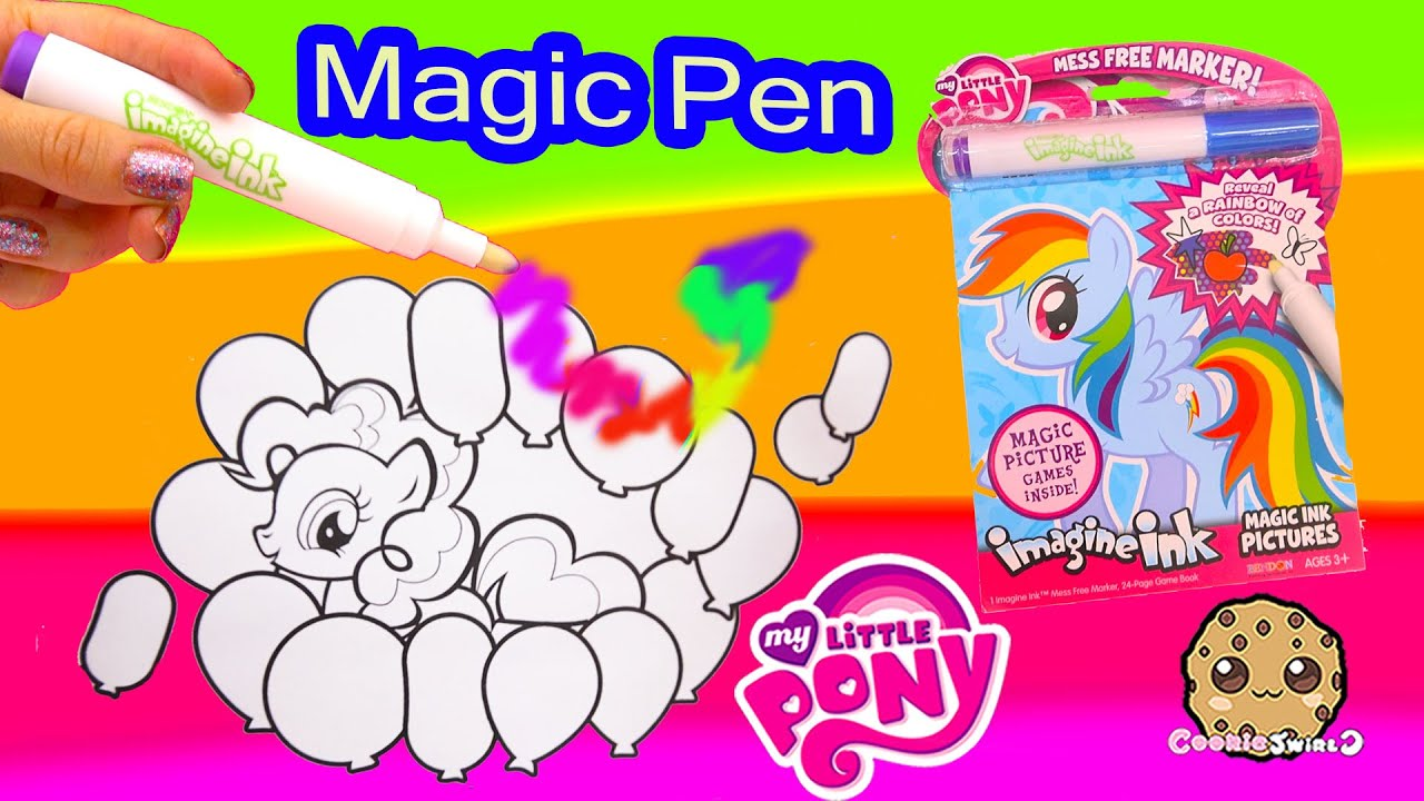 my little pony imagine ink rainbow color pen art book with surprise pictures cookieswirlc video youtube - Magic Marker Coloring Book