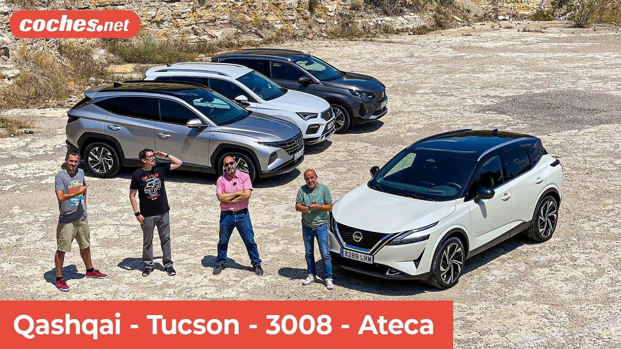 Comparativa SUV Gasolina: Qashqai-Tucson-3008-Ateca | Prueba / Test / Review en español | coches.net