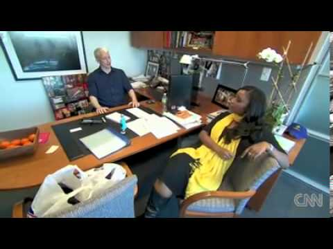 Isha Sesay hangs out in Anderson's office