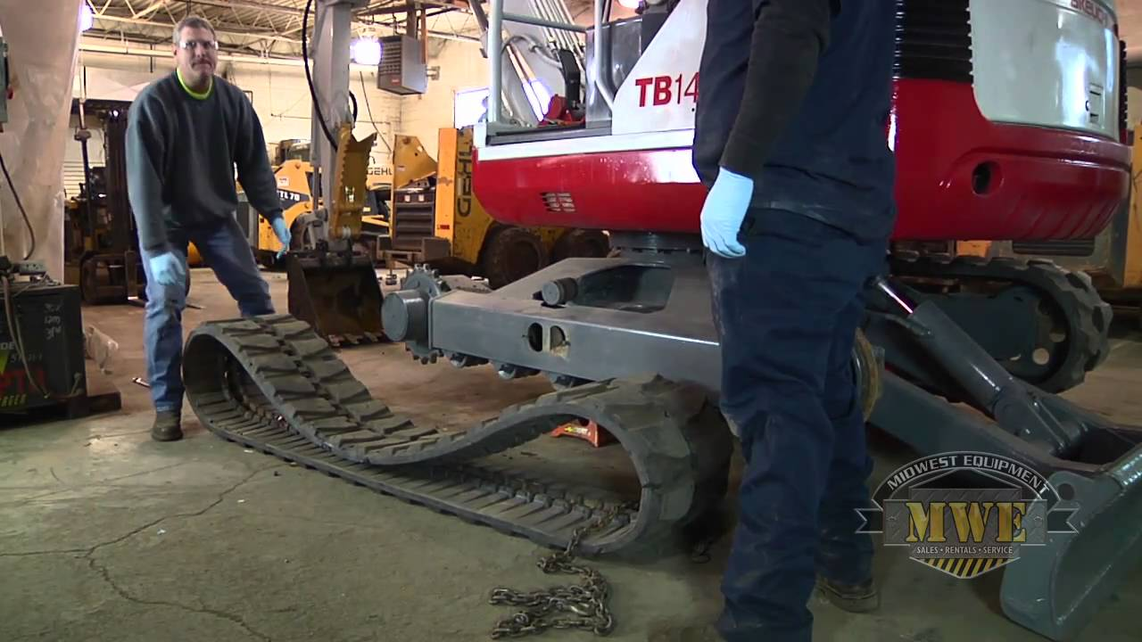 how to install replace mini excavator rubber tracks [ 1280 x 720 Pixel ]