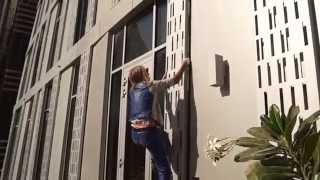 Alain Robert's Rehearsals Climbing Cayan Tower