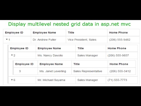 Display multilevel nested grid data in asp net mvc