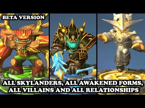 Skylanders Ring of Heroes - All Skylanders, All Awakened Forms, All Villains and All Relationships