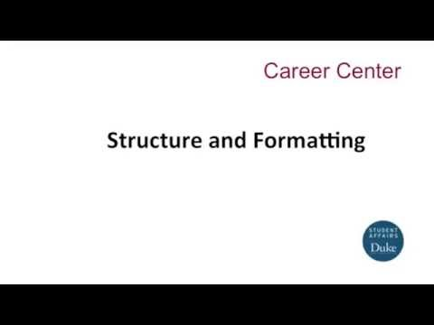 Resume Structure and format - YouTube