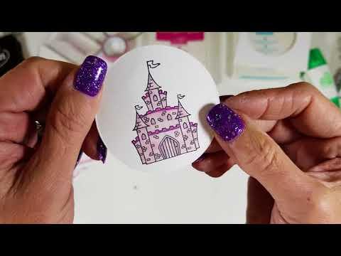 Case Card class #223 cute fairy castle card. free magazine stamp set.