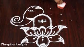 Dot Rangoli for Ganesh Festival Ganesh Rangoli with dots 7 - 1 vinayaka chavithi special muggulu