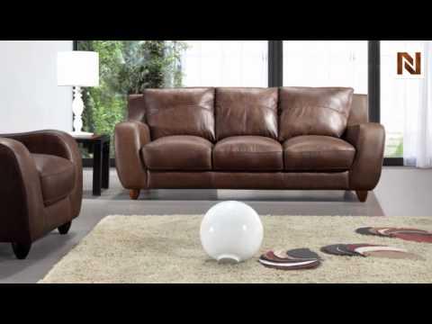 Full Leather Bremen Brown Sofa Set VGBI2540-BROWN