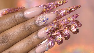 Acrylic Nails Tutorial - How To Spiral Nails - Acrylic Nails with Nail Forms