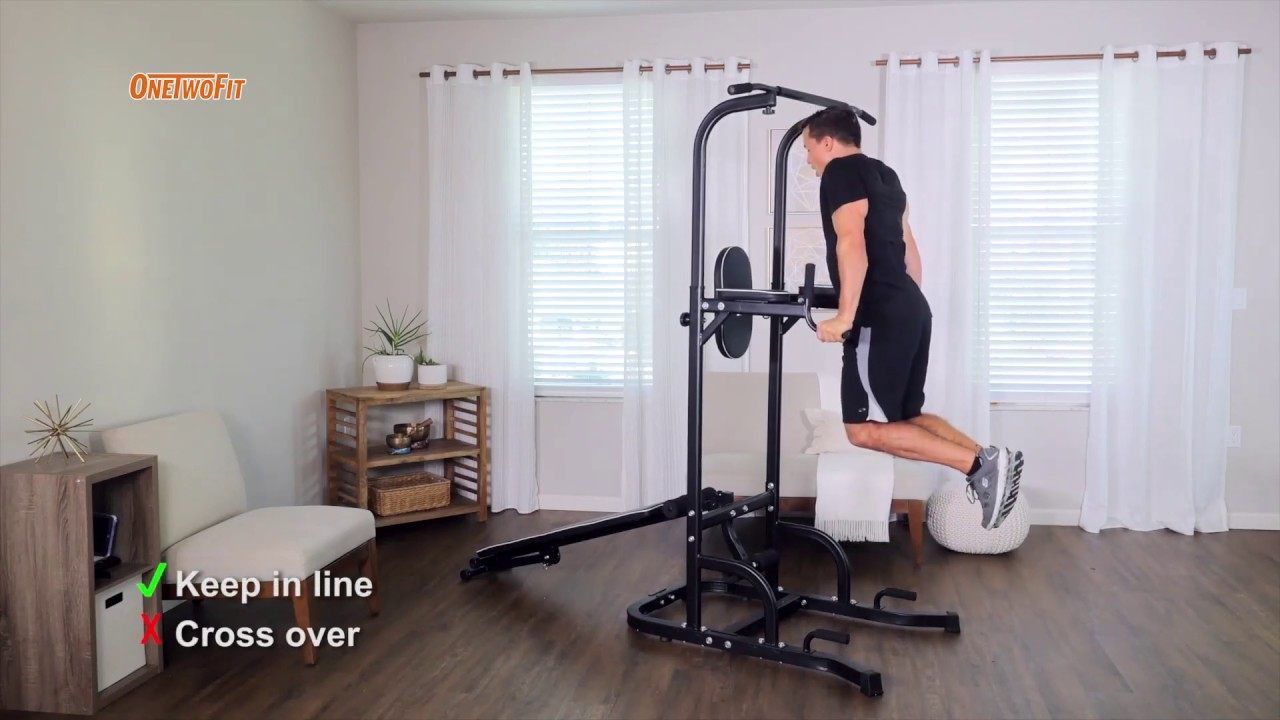 OneTwoFit Multi-Function Power Tower with Sit Up Bench | OT127