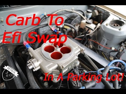 Carb to EFI Swap In A Parking Lot!