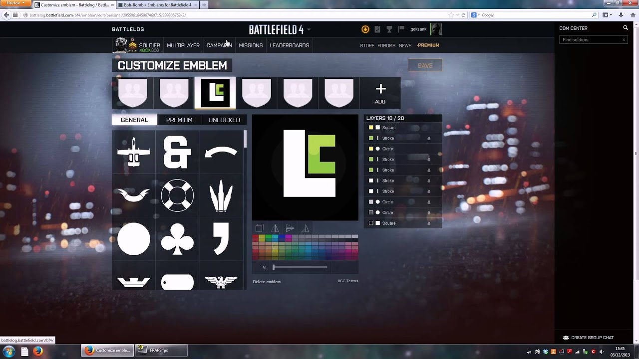 Battlefield 4 Get Awesome Custom Emblems Tutorial  (PC/XboxOne/Xbox360/PS4/PS3)