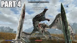 Skyrim Special Edition Walkthrough Part 4 - FIRST DRAGON FIGHT - PC Gameplay 1080p 60fps