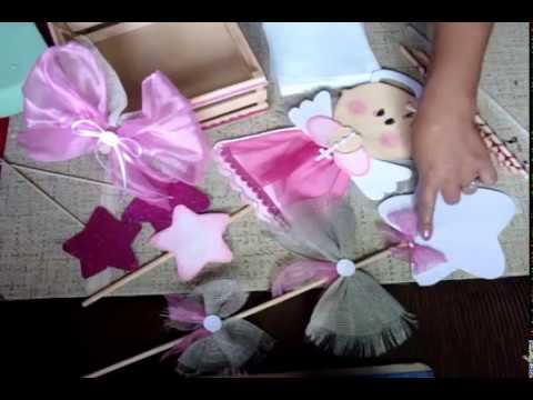 Centro de mesa para bautiz tutorial youtube for Mesa de dulces para bautizo de nina