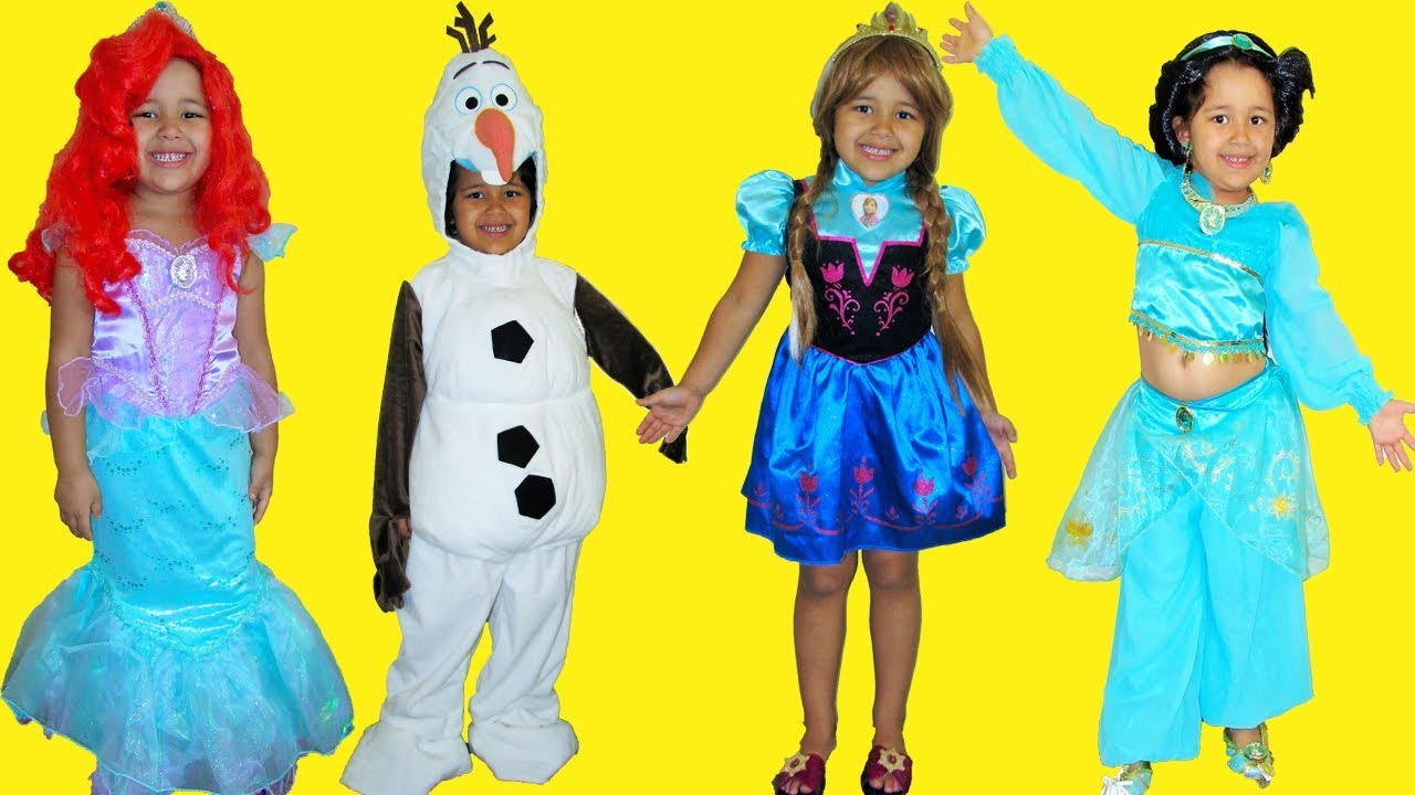 halloween costumes shopping and dress up disney princess anna ariel jasmine and olaf
