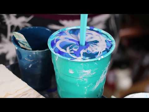 DOOOOOOONNNNNNNAAAAAAAAAAA!!!!!!!! HUGE Ocean Blue Acrylic Pour