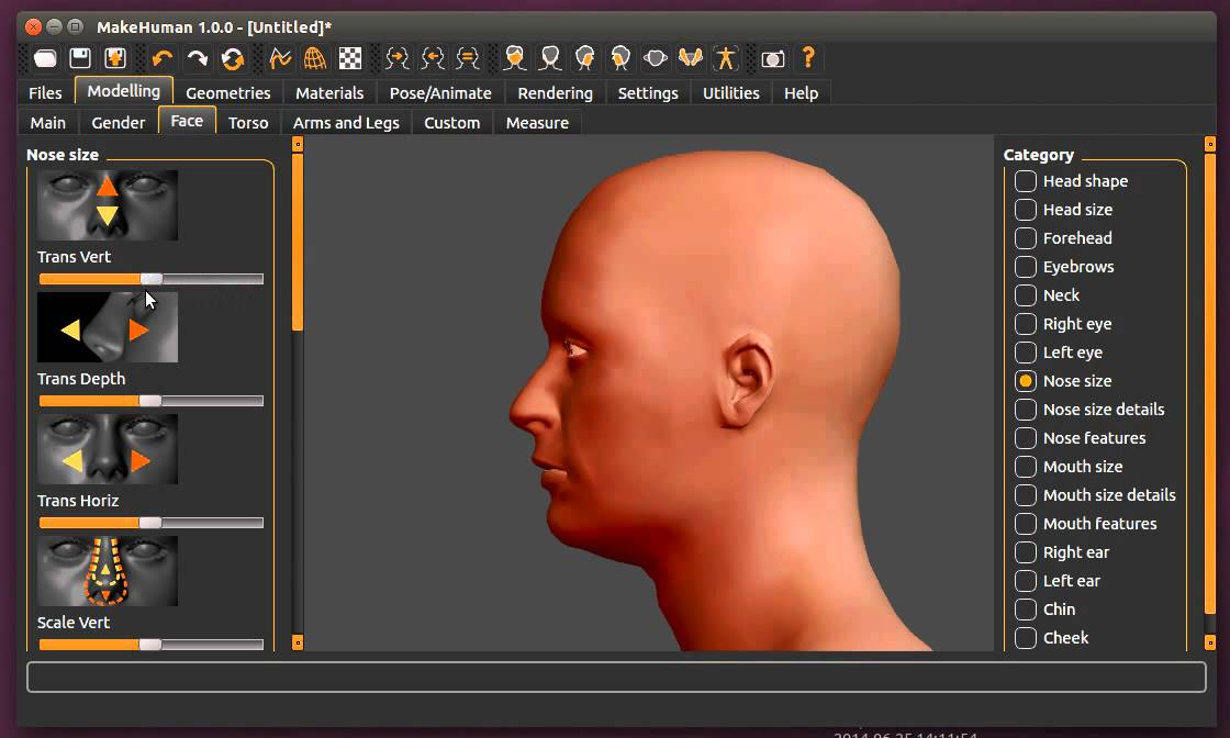 ATOR: MakeHuman – Tests with facial reconstruction and human evolution