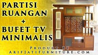 Bufet Partisi Pembatas Ruangan Minimalis Kayu Jati   Arif Jati Furniture