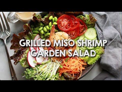 Grilled Miso Shrimp Garden Salad