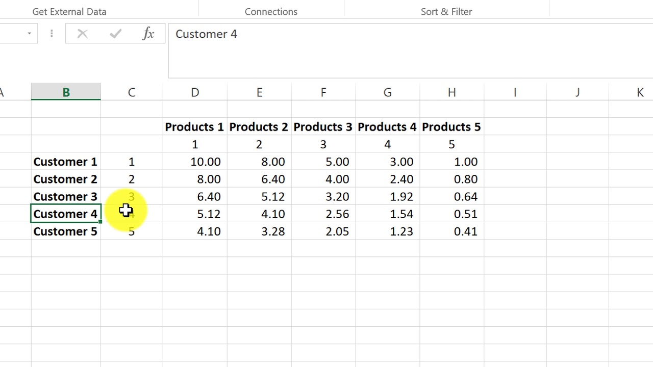 create a customer and price matrix in microsoft excel youtube