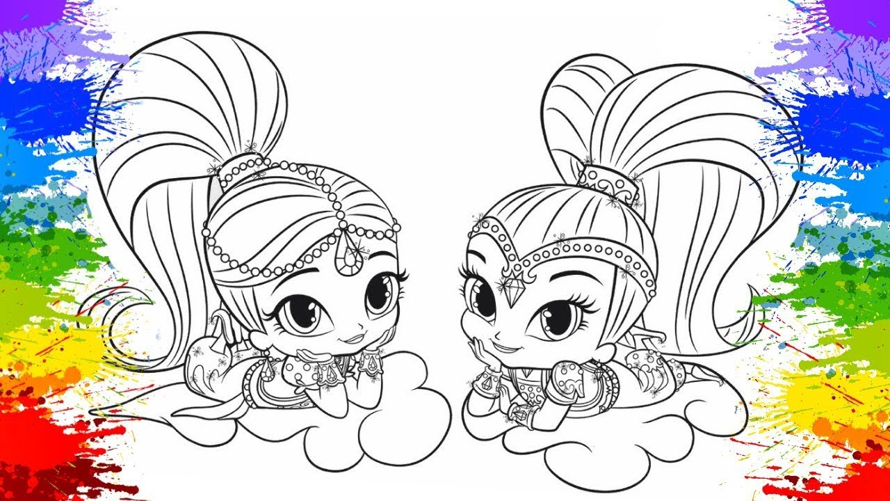 Coloring Shimmer And Shine Nick Art For Kids Paint Book Page How To Color KOKI DISNEY TOYS