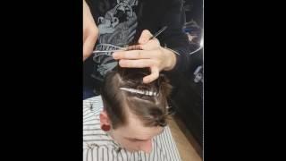 Мужская стрижка ножницами на оттяжках \  mens haircut with scissors