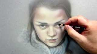 Arya Stark Time Lapse Airbrush/Colored Pencil Painting