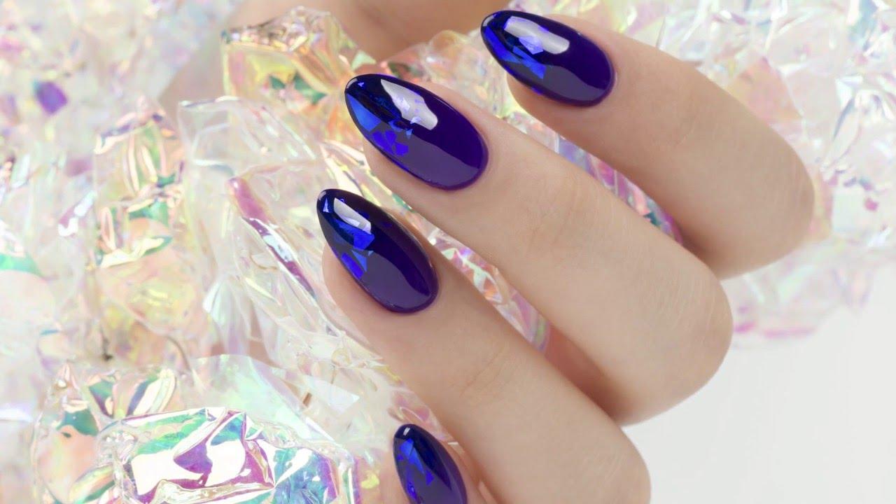 Szklane Paznokcie Folia Mirror Aurora Indigo Nails Glass Nails