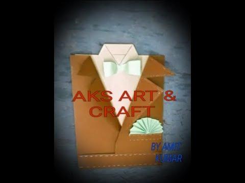 DIY SUIT-TUXEDO FATHER'S ,INVITATION,WEDDING GREETING CARD/AMIT KUMAR -AKS ART &CRAFT CLASSES