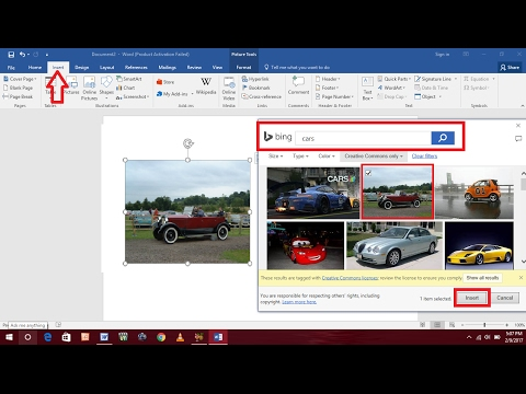 How To Insert Online Images In MS Word 2016