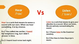Hear Vs Listen The difference between two words in English