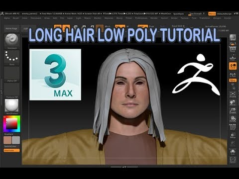 low poly long hair 3ds max zbrush