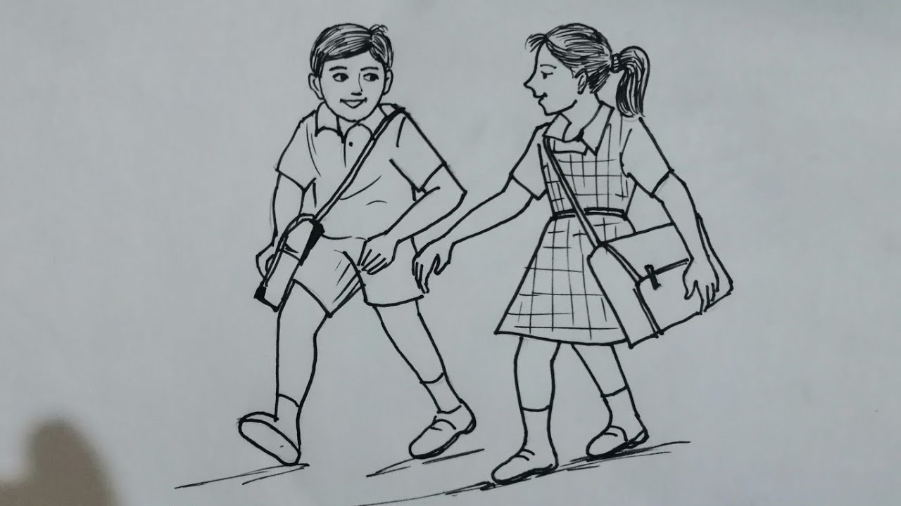 memory drawing# children going to school# for elementary ...