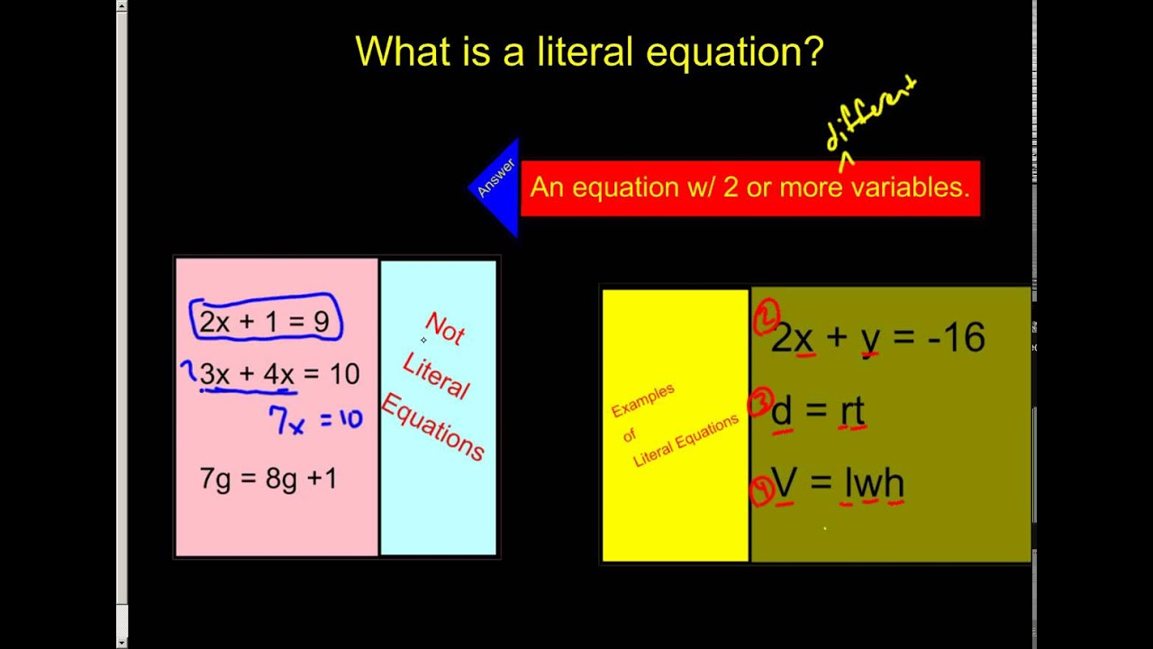 What Is A Literal Equation Youtube