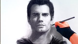 Man Of Steel (Henry Cavill) Charcoal Portrait Time-lapse video