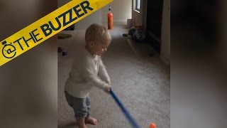 This 18-month-old boy's golf trick shot will leave you in awe | @TheBuzzer | FOX SPORTS